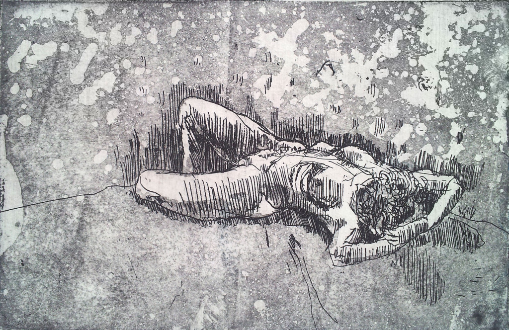 'Model study 1 ' Aquatint Etching - 10 x 15 cm