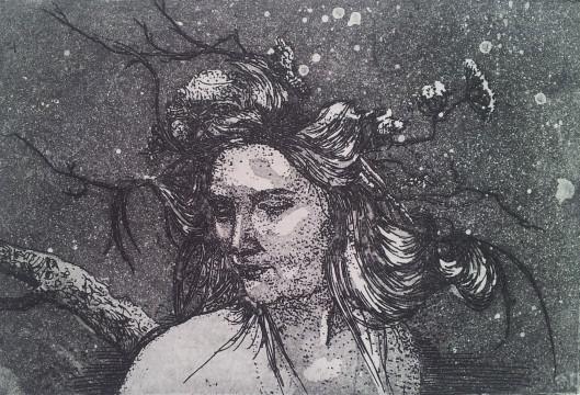 'Selfportrait' Aquatint Etch - 15 x 10 cm