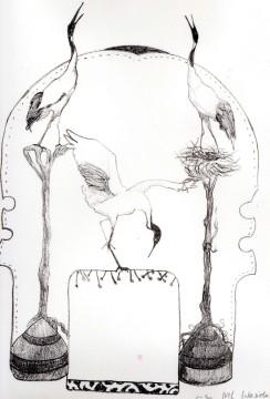 'Cranes' Litho - 19 x 27 cm- 2014