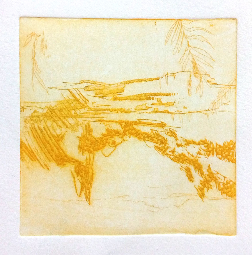 ' Yellow landscape' , copper etch, 2019, 10 x 10 cm (limited edition of 2)