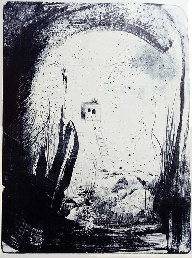 'At the shore' , lithograph , 32,5 x 44 cm (edition of 5 )