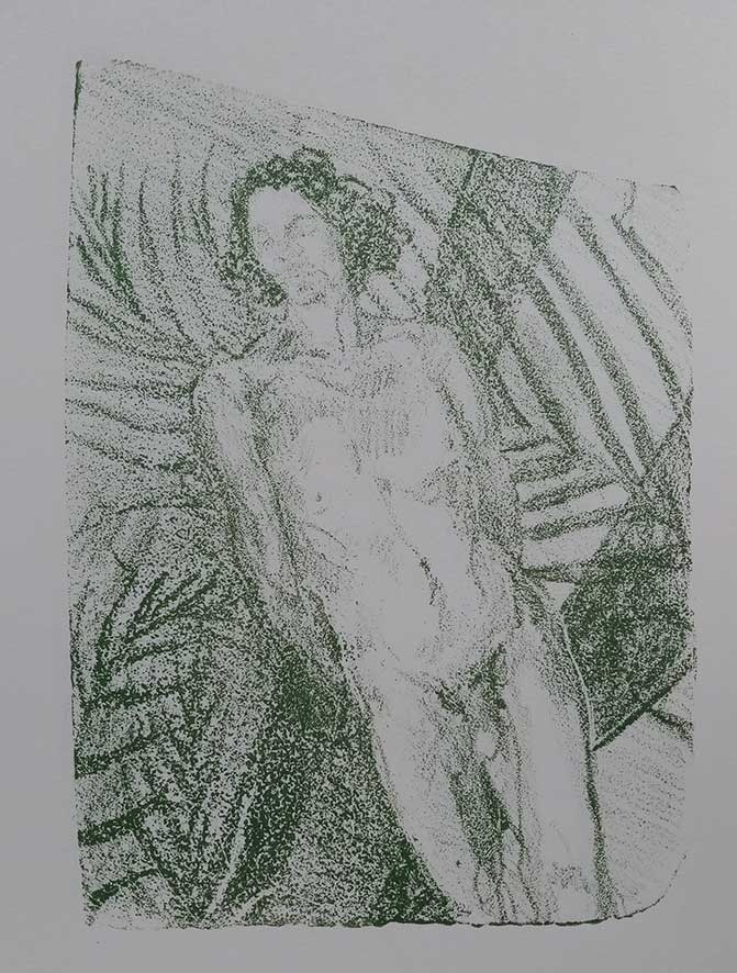 'Male Nude green' , lithograph , 21 x 15 cm (edition of 4 )