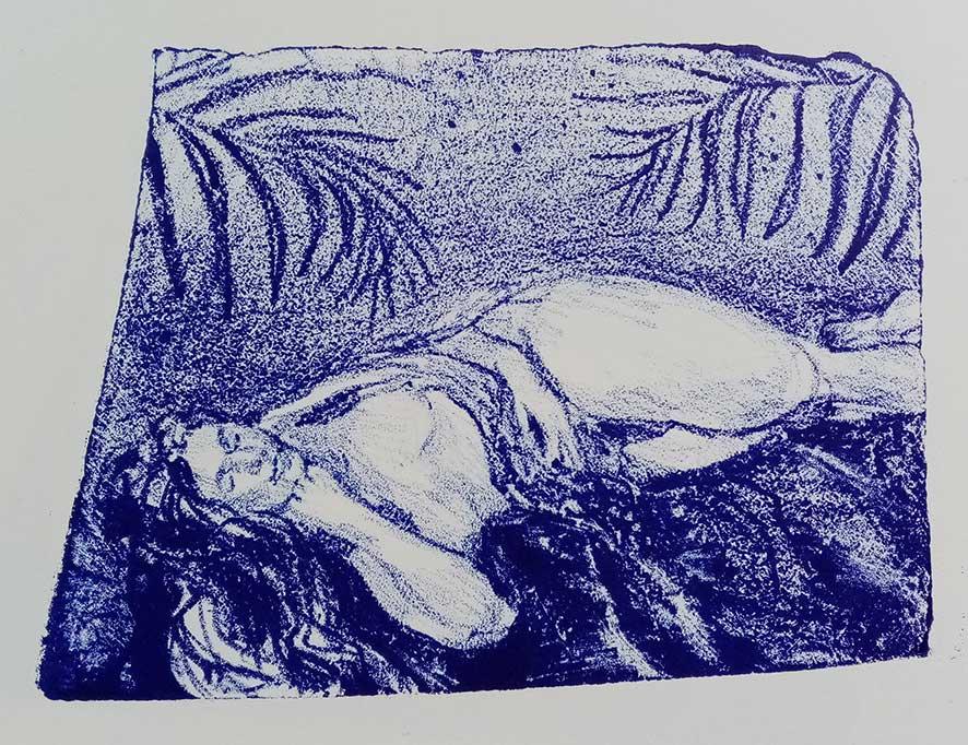 'Model Bolt Blue' , lithograph , 21 x 15 cm (edition of 4 )